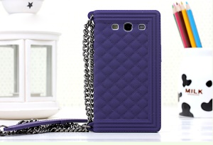 Purple for Samsung I9300 Galaxy S III Grid Pattern Soft Silicone Back Shell