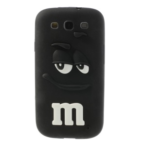 PIZU Smiling M&M Bean Candy Smell Silicone Case for Samsung Galaxy S3 I9300 - Black