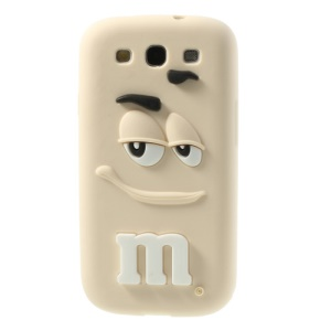 PIZU Smiling M&M Bean Candy Smell Silicone Shell for Samsung Galaxy S3 I9300 - Beige