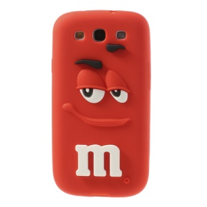 PIZU Smiling M&M Bean Candy Smell Silicone Skin Shell for Samsung Galaxy S3 I9300 - Red