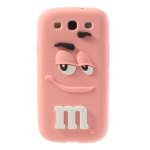 PIZU for Samsung Galaxy S3 I9300 Smiling M&M Bean Candy Smell Silicone Gel Cover - Pink