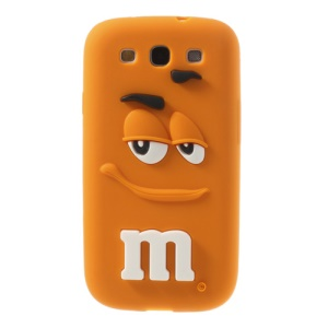 PIZU for Samsung Galaxy S3 I9300 Smiling M&M Bean Candy Smell Silicon Shell Case - Orange