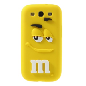 PIZU for Samsung Galaxy S3 I9300 Smiling M&M Bean Candy Smell Silicon Phone Shell - Yellow