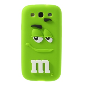 PIZU for Samsung Galaxy S3 I9300 Smiling M&M Bean Candy Smell Flex Silicone Case - Green