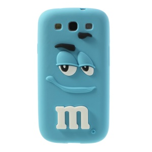 For Samsung Galaxy S3 I9300 PIZU Smiling M&M Bean Candy Smell Flex Silicone Cover - Blue