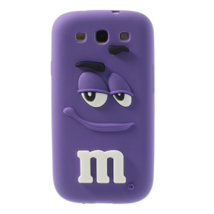 For Samsung Galaxy S3 I9300 PIZU Smiling M&M Bean Candy Smell Soft Silicone Shell - Purple