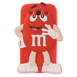 Happy M&Ms Chocolate Rainbow Bean Silicone Back Shell for Samsung Galaxy S3 I9300 - Red