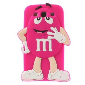 Happy M&Ms Chocolate Rainbow Bean Silicone Back Case for Samsung Galaxy S3 I9300 - Rose