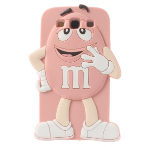 Happy M&Ms Chocolate Rainbow Bean Soft Silicone Case for Samsung Galaxy S3 I9300 - Pink
