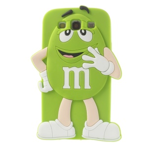 Happy M&Ms Chocolate Rainbow Bean for Samsung Galaxy S3 I9300 Soft Silicone Cover - Green