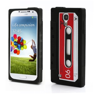 Classical Cassette Tape Soft Silicone Case for Samsung Galaxy S IV 4 i9500 i9505 - Black