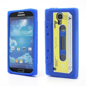 Retro Cassette Tape Silicone Case for Samsung Galaxy S IV S4 i9500 i9505 - Dark Blue