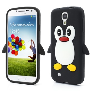 Soft 3D Penguin Silicone Case Cover for Samsung Galaxy S IV 4 i9500 i9505 - Black