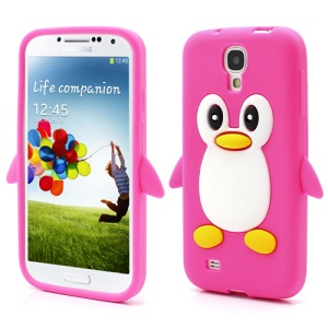 Soft 3D Penguin Silicone Case Cover for Samsung Galaxy S IV S4 i9500 i9505 - Rose