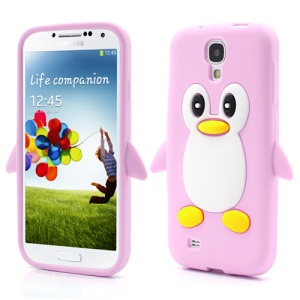 Soft 3D Penguin Jelly Silicone Case for Samsung Galaxy S IV S4 i9500 i9505 - Pink