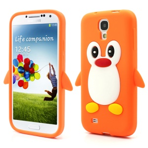Soft 3D Penguin Silicone Case for Samsung Galaxy S IV S4 i9500 i9505 - Orange