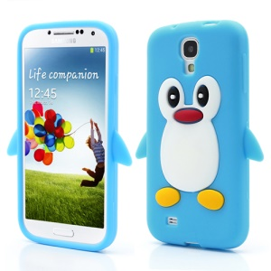 Soft 3D Penguin Silicone Back Case for Samsung Galaxy S IV S4 i9500 i9505 - Baby Blue