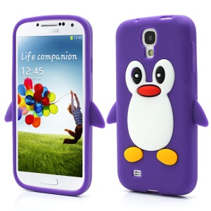 Soft 3D Penguin Silicone Case Cover for Samsung Galaxy S IV S4 i9500 i9505 - Purple