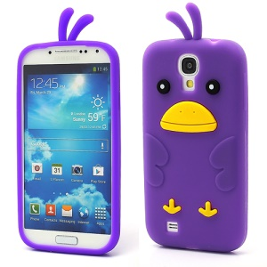 Cute Cartoon Chicken Silicone Case Cover for Samsung Galaxy S IV 4 i9500 i9505 - Purple