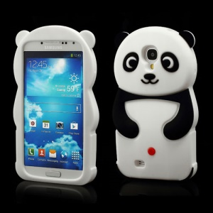 Likable Panda Silicone Cover Case for Samsung Galaxy S IV S 4 i9500 i9502 i9505 - Black