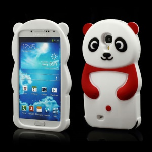 Likable Panda Silicone Cover Case for Samsung Galaxy S IV S 4 i9500 i9502 i9505 - Red
