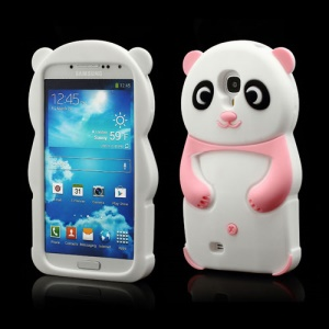 Likable Panda Silicone Cover Case for Samsung Galaxy S IV S 4 i9500 i9502 i9505 - Pink