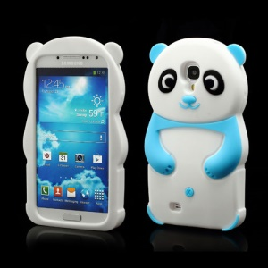 Likable Panda Silicone Cover Case for Samsung Galaxy S IV S 4 i9500 i9502 i9505 - Baby Blue