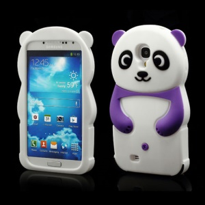 Likable Panda Silicone Cover Case for Samsung Galaxy S IV S 4 i9500 i9502 i9505 - Purple