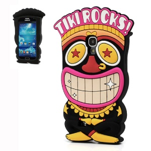 Fancy 3D Tiki Rocks Soft Silicone Case Cover for Samsung Galaxy S IV S4 i9500 i9502 i9505 - Black