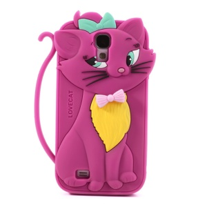 Bow Tie Love Cat Silicone Case for Samsung Galaxy S IV S4 i9500 - Rose