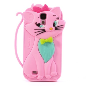 Bow Tie Love Cat Silicone Cover for Samsung Galaxy S IV S4 i9500 i9505 - Pink