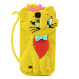 Bow Tie Love Cat Silicone Case Shell for Samsung Galaxy S IV S4 i9500 i9502 - Yellow