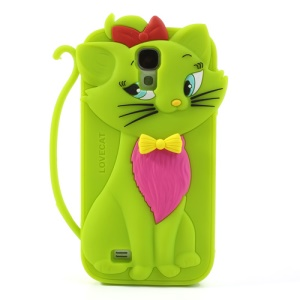 Bow Tie Love Cat Silicone Back Case for Samsung Galaxy S IV S4 i9500 SGH-M919 - Green