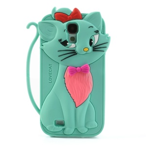 Bow Tie Love Cat Silicone Case for Samsung Galaxy S IV S4 i9500 SCH-I545 - Cyan