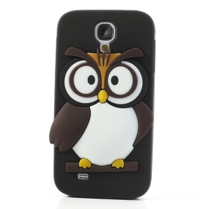 Black Novelty 3D Owl Silicone Back Case for Samsung Galaxy S4 I9500 I9502 I9505