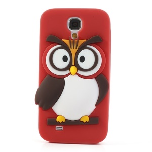 Red Novelty 3D Owl Silicone Back Cover for Samsung Galaxy S4 I9500 I9502 I9505