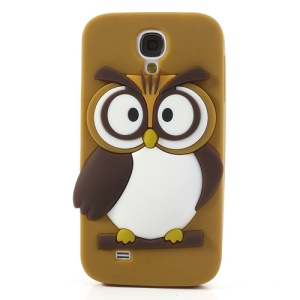 Brown for Samsung Galaxy S4 I9500 I9502 I9505 Novelty 3D Owl Flex Silicone Shield Case