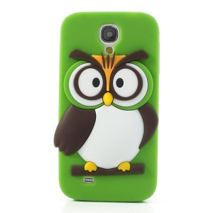 Green for Samsung Galaxy S4 I9500 I9502 I9505 Novelty 3D Owl Flex Silicone Shield Cover