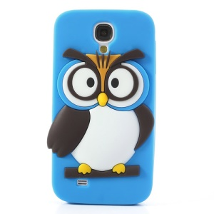 Blue Novelty 3D Owl for Samsung Galaxy S4 I9500 I9502 I9505 Soft Silicone Shield Cover