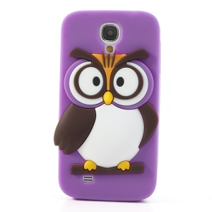 Purple Novelty 3D Owl for Samsung Galaxy S4 I9500 I9502 I9505 Soft Silicone Back Cover