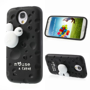 Black PIZU Smell Cheese Silicone Case w/ Mouse Winder for Samsung Galaxy S4 I9500 I9502 I9505