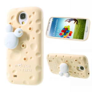 Beige PIZU Smell Cheese Silicone Case w/ Mouse Winder for Samsung Galaxy S4 I9500