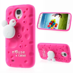 Rose PIZU Smell Cheese Silicone Case w/ Mouse Winder for Samsung Galaxy S4 I9500