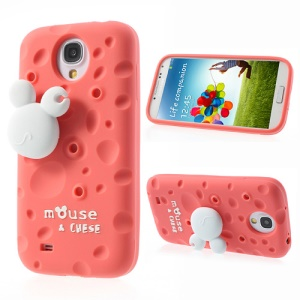 Watermelon Red PIZU Smell Cheese Silicone Case for Samsung Galaxy S4 I9500 w/ Mouse Winder