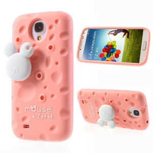 Pink PIZU Smell Cheese Silicone Cover for Samsung Galaxy S4 I9500 w/ Mouse Winder