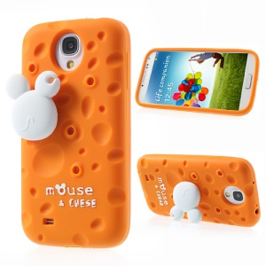 Orange PIZU Smell Cheese Silicone Cover for Samsung Galaxy S4 I9505 w/ Mouse Winder