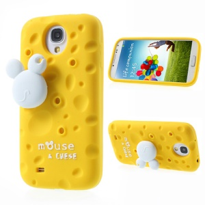 Yellow PIZU Smell Cheese Silicone Shell for Samsung Galaxy S4 I9502 w/ Mouse Winder