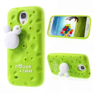 Green PIZU Smell Cheese Silicone Shell for Samsung Galaxy S4 I9502 w/ Mouse Winder