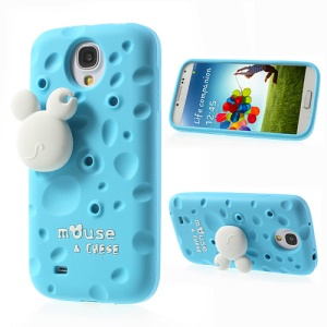 Blue for Samsung Galaxy S4 I9505 PIZU Smell Cheese Silicone Shell w/ Mouse Winder