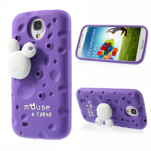 Purple for Samsung Galaxy S4 I9505 PIZU Smell Cheese Silicone Case w/ Mouse Winder